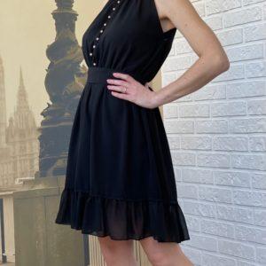 Заказать женское черное платье под шею без рукавов из шифона недорого