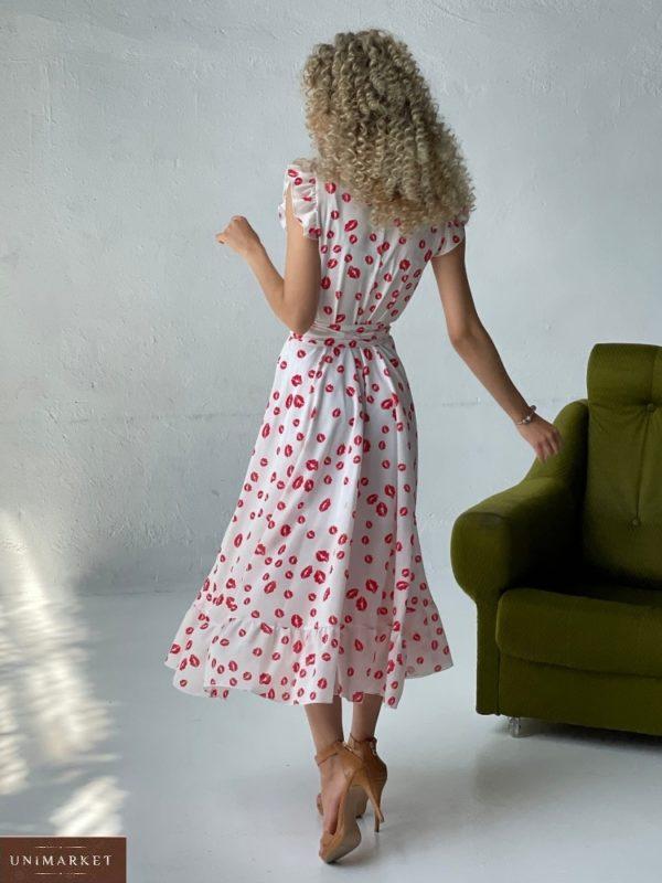 Заказать онлайн белое летнее платье с поцелуями (размер 42-52) для женщин