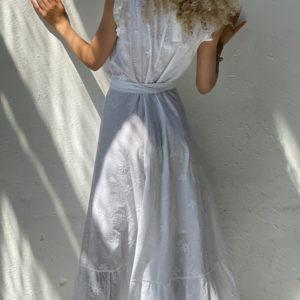 Купить белое женское летнее платье из хлопка на запах (размер 42-52) в Украине