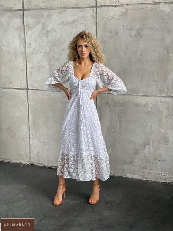 Купить белого цвета женское платье с сеткой в цветочный принт (размер 42-52) дешево