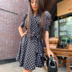 Заказать в интернете черное платье в горошек на запах с рукавами-фонариками для женщин