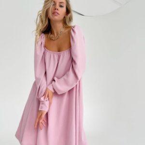 Купить на лето розовое женское платье мини с квадратным вырезом дешево