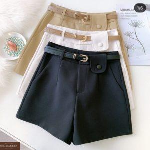 Купить белые, беж, черные шорты из креп-костюмки с поясом по низким ценам для женщин