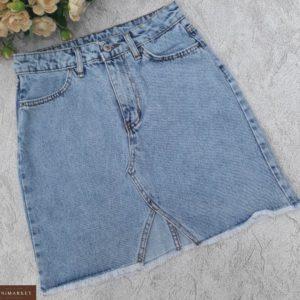 Купить голубую женскую юбку джинсовую с вырезом выгодно