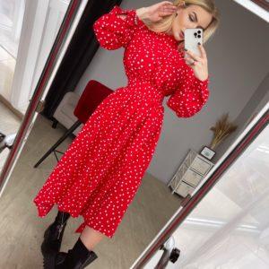 купить летнее платье красного цвета в горошек по низкой цене