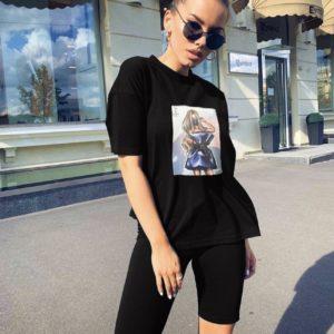 женский летний чёрный костюм с удлинённой футболкой по низкой стоимости с доставкой