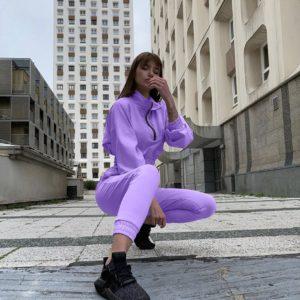 купить лиловый женский костюм двойку с кофтой свободного кроя по выгодной скидке от поставщика