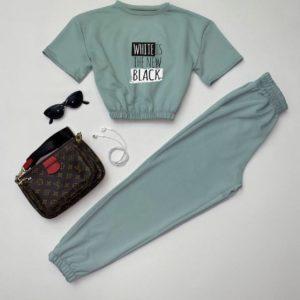 купить женский прогулочный костюм с укороченной кофтой в оливковом цвете онлайн