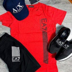 купить мужской прогулочный костюм с шортами и футболкой красного цвена по низкой цене