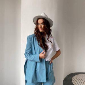 летние женские костюмы в голубом цвете по низкой стоимости с быстрой доставкой