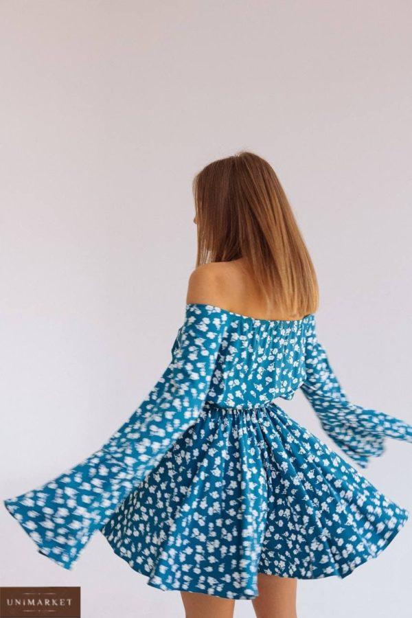 купить летний женский комбинезон с открытыми плечами в горошек недорого