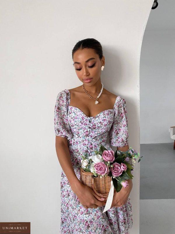 купить белое летнее платье с цветочным принтом по выгодной акции от магазина Unimarket