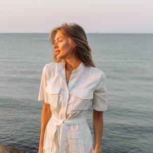 купить женскую летнюю рубашку белого цвета по низкой стоимости с доставкой