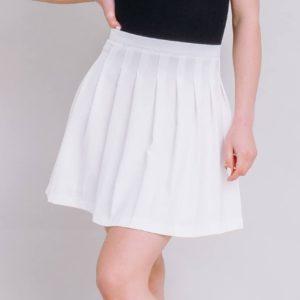 заказать плиссированную юбку мини молочного цвета по низкой цене онлайн