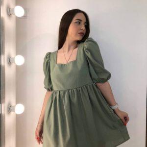 приобрести летнее прогулочное платье из льна с завязками на спине по низкой цене