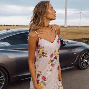 заказать шёлковое платье на бретелях по низкой стоимости с доставкой по Украине