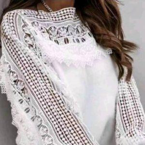 Заказать по скидке белую блузу с кружевом для женщин