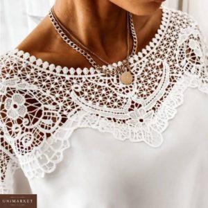 Приобрести белую женскую свободную блузку с кружевом выгодно