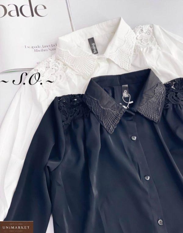 Заказать недорого белую, черную блузку с кружевом на плечах для женщин