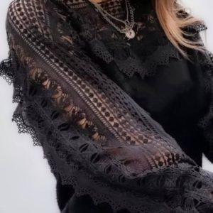 Приобрести недорого черную блузу с кружевом для женщин