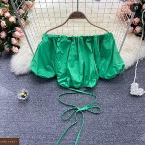 Заказать выгодно зеленый топ с переплетом и объемными рукавами для женщин