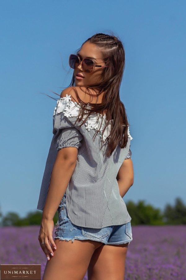 Заказать онлайн черную блузку в мелкую полоску с открытыми плечами (размер 42-48) для женщин