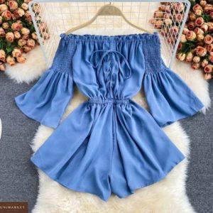 Купить голубой женский короткий комбинезон с открытыми плечами по низким ценам