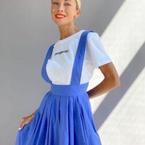 Купить синий женский комплект двойка: сарафан миди + футболка в Украине