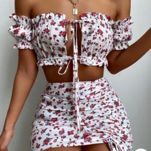 Заказать белую женскую юбку с топом в цветочный принт онлайн