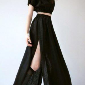 Замовити чорний в Україні лляний костюм довга спідниця + топ для жінок