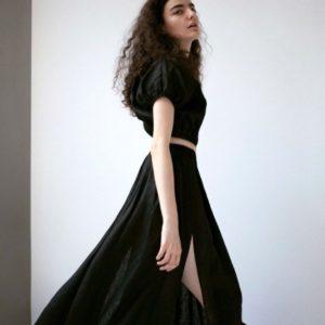 Замовити чорний лляний костюм довга спідниця + топ жіночий в Україні