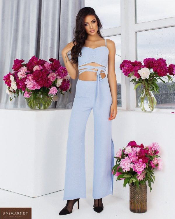 Приобрести голубой женский брючный костюм с топом (размер 42-52) онлайн