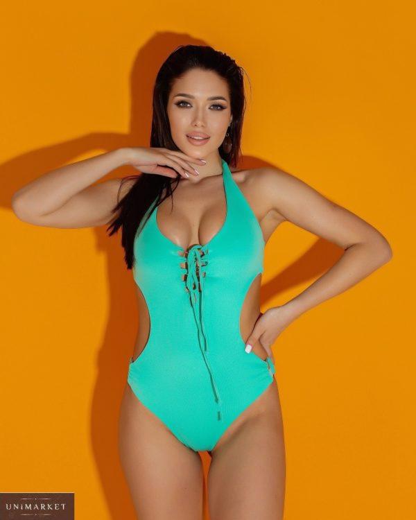 Приобрести цвета мята женский слитный купальник со шнуровкой (размер 42-52) дешево