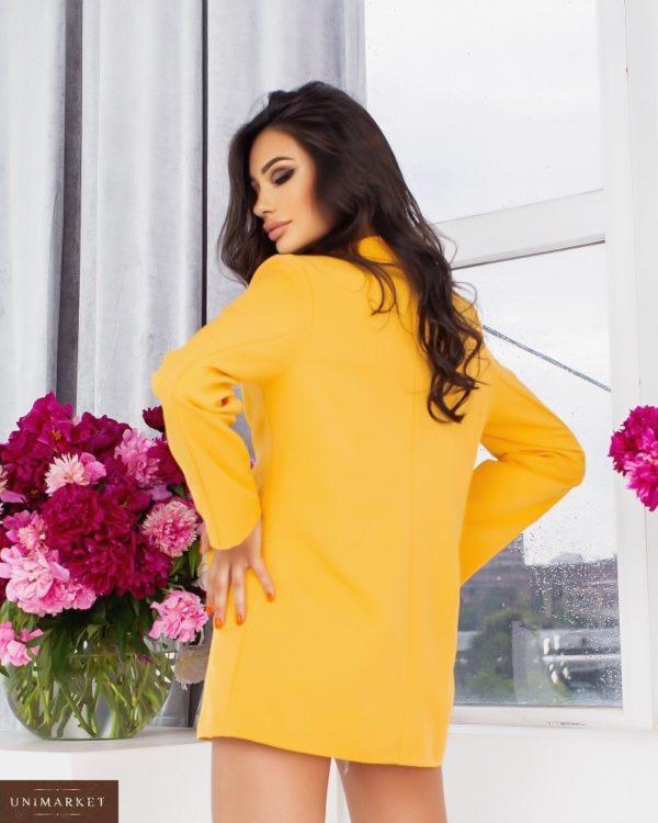 Приобрести по скидке горчица удлиненный пиджак свободного кроя (размер 44-54) для женщин