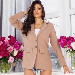 Купить онлайн капучино удлиненный пиджак свободного кроя (размер 44-54) для женщин