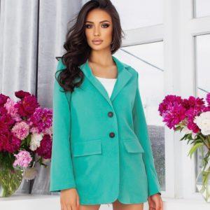 Заказать мятный женский удлиненный пиджак свободного кроя (размер 44-54) в Украине
