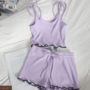 Замовити недорого жіночу літню трикотажну піжаму бузкового кольору