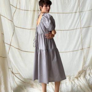 Заказать недорого серое платье оверсайз с объемными рукавами для женщин