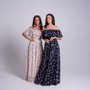 Купить синее, пудра женское шифоновое платье в пол в цветочный принт в Украине