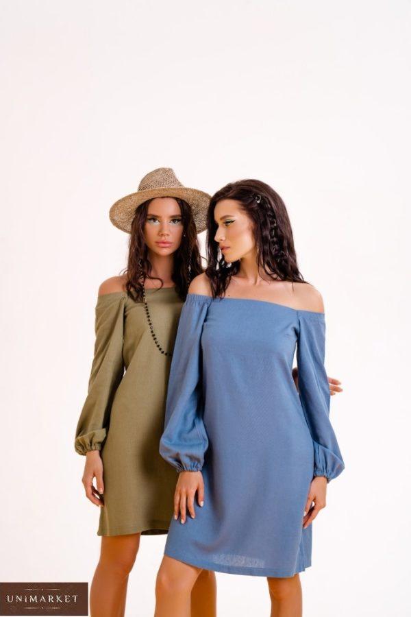 Заказать на лето хаки, синее платье из льна с длинным рукавом (размер 42-48) для женщин