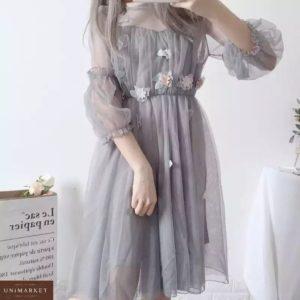 Приобрести серое женское платье из фатина с декором в интернете