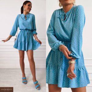 Купити зі знижкою жіноче плаття в горошок міні дешево