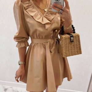 Купить женское беж платье с рюшами из коттона онлайн