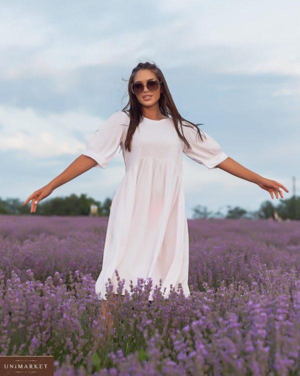 Купить по скидке женское платье из штапеля с объемными рукавами (размер 42-52) белого цвета