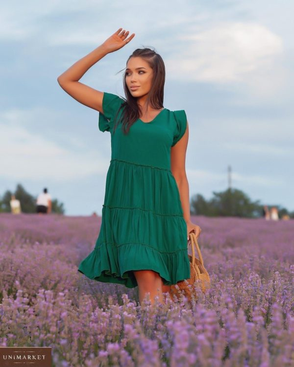 Купить онлайн зеленое женское летнее платье с рюшами (размер 42-52)
