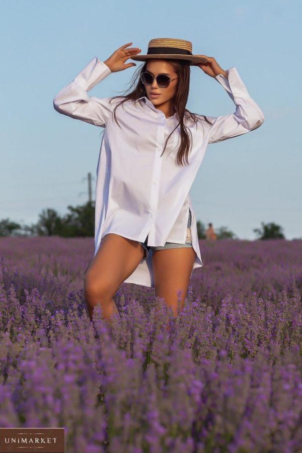 Купить женскую белую удлиненную рубашку с длинным рукавом (размер 42-48) в Украине