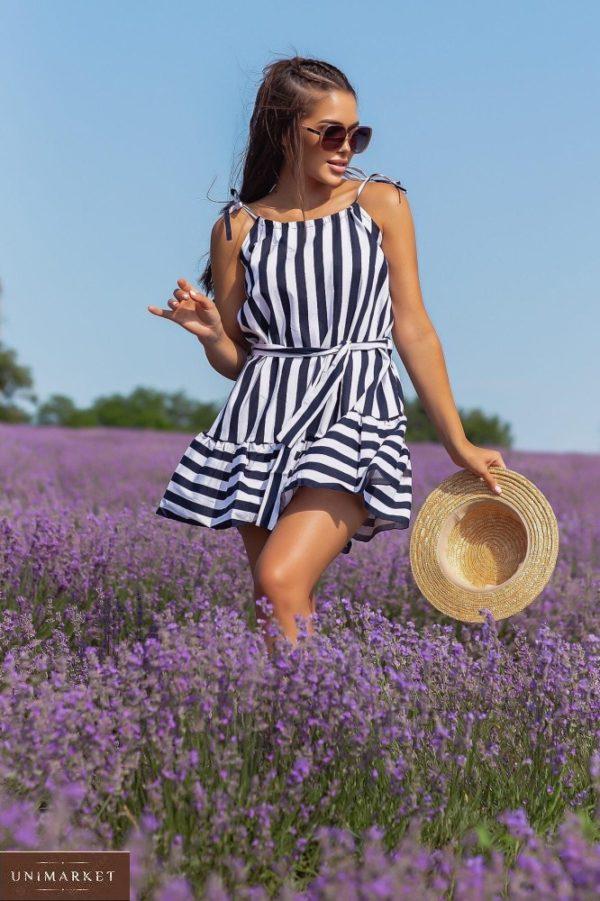 Заказать выгодно синее женское платье мини из натурального льна (размер 42-48)