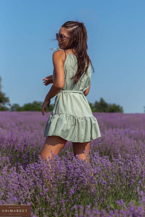 Купить по скидке оливка летнее платье в мелкий горошек (размер 42-48) для женщин