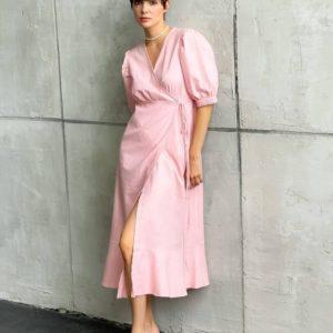 Купити рожеве жіноче лляне плаття з рукавами-ліхтариками (розмір 42-48) по знижці
