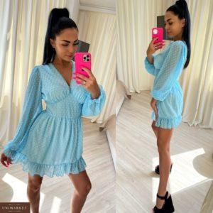 Купить выгодно голубое платье из шифона с длинным рукавом для женщин